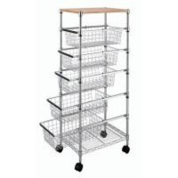 Smooth 5 Adjustable Drawers Wire Utility Cart For Laundry , Kitchen , Office