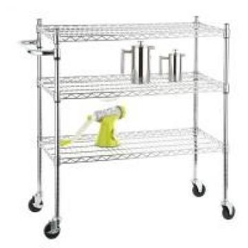 Stainless Steel Chrome Mobile Wire Metal Shelving Cart With 3 Ventilated Shelves