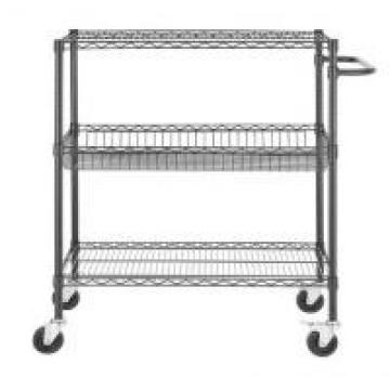 ESD Metal Commercial Heavy Duty Black Movable Wire Utility Cart With One Piece