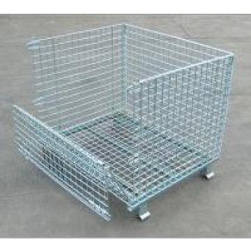 Automotive Parts Space Saving Collapsible Wire Container Galvanized Surface