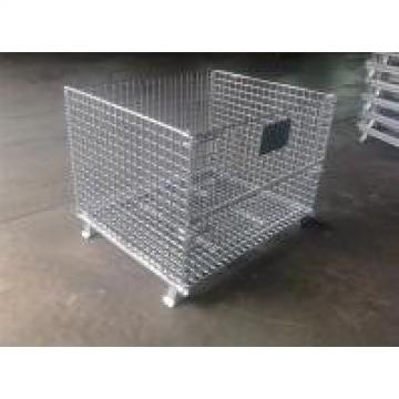 Foldable 4 Layers Wire Guage 6.0mm Wire Mesh Container Zinc Plated