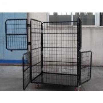Anti - Theft Lockable Collapsible Wire Container with Latch for Padlocks