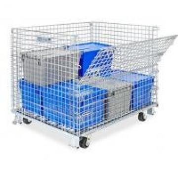 Zinc - Coated Industrial Stackable Collapsible Wire Container With Casters