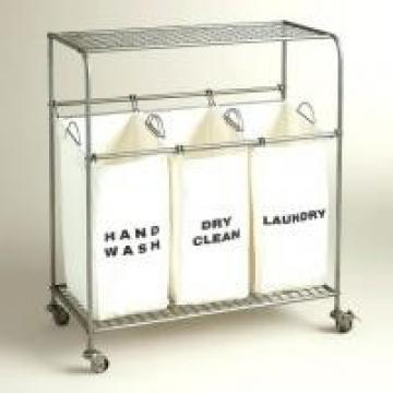 Commercial Use Large Laundry Hamper With 3 Fabric Washable Bags