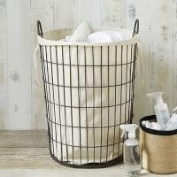 Epoxy Powder Coating Iron Wire Large Capacity Wire Mesh Laundry Basket