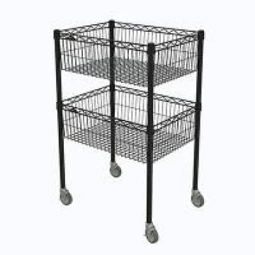NSF Approval 2 Layers Commercial Black Kitchen Wire Metal Storage Baskets