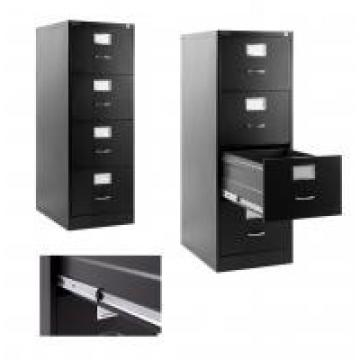 Black Metal Lateral File Cabinet 4 Drawer For Office , Home, Warehouse