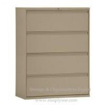 Brown Green White 4 Drawers Lateral Metal Filing Cabinet For A-4 Hanging Files