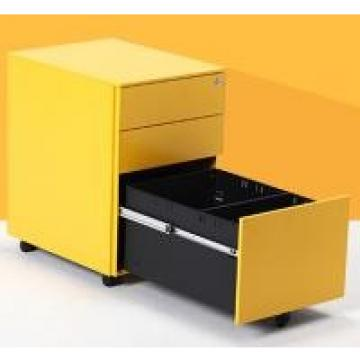 Fire Safe 3 Drawer Movable Under Desk Metal Filing Cabinet on Wheels