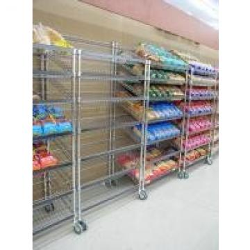 5 Layers Slant Tilt Show Room Commerical Angled Wire Shelving With Castors