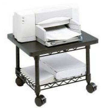 2 Layers Black Epoxy Coating Mobile Office Table / Small Storage Shelving Units