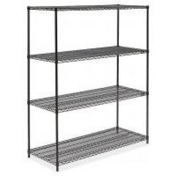"Black Metal Shelf Shop Storage Display Rack Freestanding Organizer 36""W X 14""D"