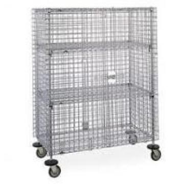 Cold Steel Galvanized Mobile Wire Security Cages Three Shelves For Hotel