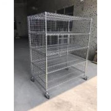 Industrial Five Shelf Wire Utility Cart With Enclosures Three Sides Mesh