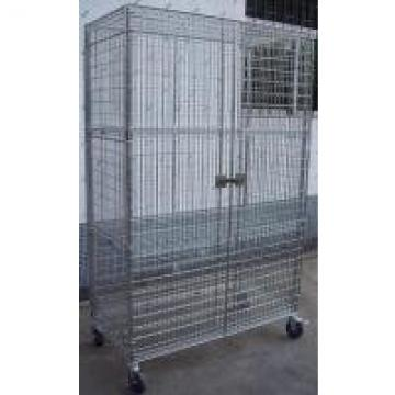 Two Doors Galvanized Metro Wire Security Carts Material Storage / Nestable Roll