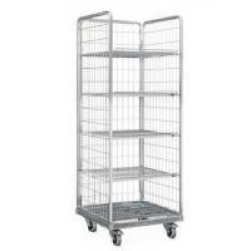 Four Mesh 2 Shelves Wire Utility Cart / Wire Roll Cage For Tools Storage