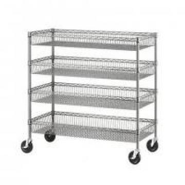 Four Layers Wire Shelving Units With Castors / Grocery Display Wire Rack