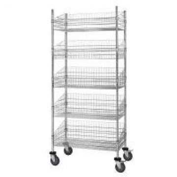 Grocery Storage Mobile Chrome Wire Grid Baskets Shelving Five Layers Silver