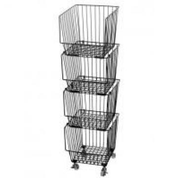 Galvanized Treatment Vegetable Display Rack For Supermarket With Four Baskets