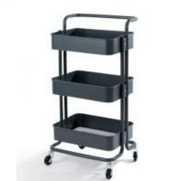 Powder Coated Surface Supermarket Shelf Display 3 Tiers With Wheels