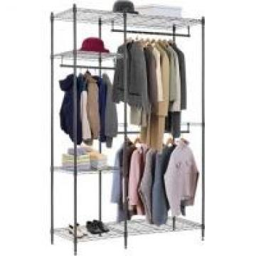 Folding Commercial Wire Shelving , Coat And Clothes Hanger Storage Rack
