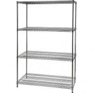 """Solid Chrome 4 Tier Wire Shelving 14"""" X 36"""" X 48"""" For Office Supplies"""