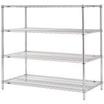 Stable Leveling Feet Commercial Wire Shelving / Matal Silver Rack In Shopping