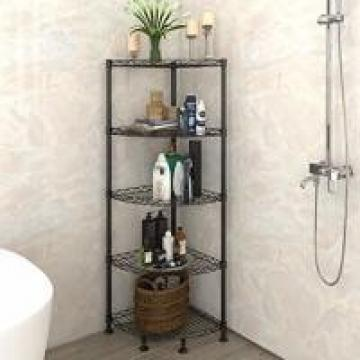 Durable Commercial Wire Shelving 5 Layers Hotel Bathroom Sorter Storage Corner