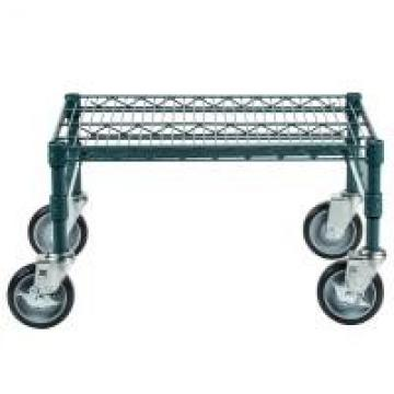 Green Epoxy Metal Commercial Mobile Wire Shelving In Plant Growing Environment