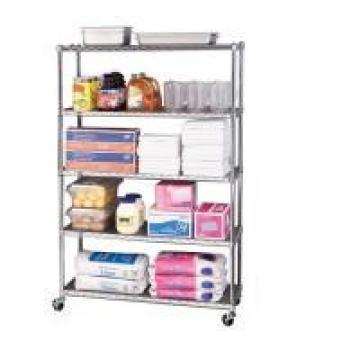 5 Layers Restaurant Wire Shelving Unit Mobile Chrome - Plated Hygienic