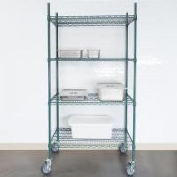 Green Epoxy Metal Commercial Wire Shelving 4 - Tier Mobile Adjustable