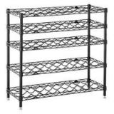 Black Coated Wine Commercial Wire Shelving Rack , 5 Shelf Wire Storage Unit