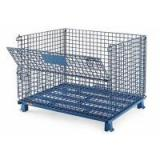 Stackable Collapsible Wire Container for Auto Parts Storage / Foldable Wire