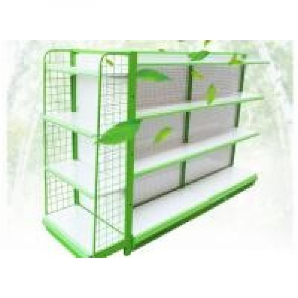 4 Layers In Green White Color C Store Display Rack / Wire Mesh Decking #1 image