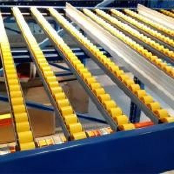 Space Saving Wheel Type Flow Rack System In Yellow Color For Hardware Industry #1 image